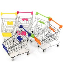 Mini Cute Eco-Friendly Supermarket Shopping Trolley Cart Toy Basket for Phone Jewelry Holder Office Desk Storage Home Decoration(China)