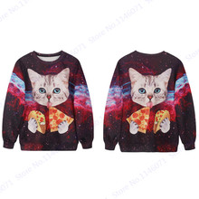 3D Kitty White Cat Eat Pizza Print Hoodies Womens Tracksuit Tops Jumper Pullover Jacket Harajuku Training Exercise Sweaters Red