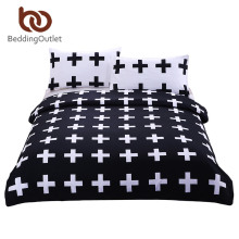 BeddingOutlet 3 Pieces Cross Bedding Black White Duvet Cover Set Super Soft Hypoallergenic Quilt Cover with Pillow Case Fashion