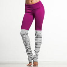 JIGERJOGER Women's Yoga Pants Plus Size Purple Winered VS Light Grey Patch wrinkled Folding Quick Dry Sports Outfit wear Tights(China)