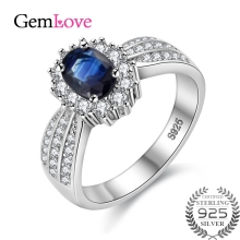 Gemlove Sterling Silver Gemstones Ring 2.5ct Sapphire Party Women Rings Silver 925 Real Diamond Ring Jewellery Anel 30%off CJ009