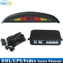 (Wholesale) 50pcs 4 Parking Sensors Car Led Display People Voice Sound Alarm Vehicle Parking Assistance System(China)