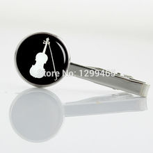 Exquisite Classic tie pin Black and White fiddle Silhouette Tie Clips Novelty Interesting orchestra violin tie tacks  T 853