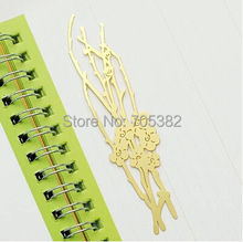 Bookmark.Korean Style exquisite plant shape metal hollow out gold bookmarks,gift Office material school supplies(tt-2497)