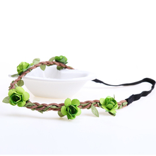7PCS Different Colors Hair Accessories Girls Headbands Rose Flowers Crown Wedding Hair Accessory Flores Headband for Women