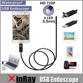 XinFly Micro USB Endoscope HTA55 USB Inspection Camera 0.3MP 5.5MM Dia 6LED& Accessaries Waterproof Inspection Borescope Camera