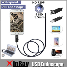 XinFly Micro USB Endoscope HTA55 USB Inspection Camera 0.3MP 5.5MM Dia 6LED& Accessaries Waterproof Inspection Borescope Camera(China)