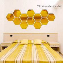 7pcs DIY Wall Stickers Decor Plastic 3D Mirror Stickers Hexagon Art Style for TV Sofa Bedroom Home Background Room Decoration(China)