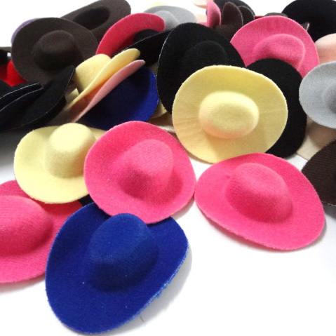 50pcs Hen Party Felt Mini Top Hat Hair Fascinator Base. DIY Mini Cowboy hat hair accessories 6.8cm(China)