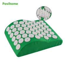 Povihome Acupressure Yoga Massage Pillow for Neck Head Massage Therapy Pain Relief Health Wellness Green body massage C11285(China)