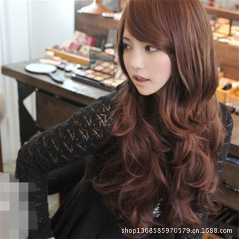 Hot Selling/Big Discount off 65cm Black Medium Long Wavy Heat Resistant Synthetic Wigs Cosplay wig Party Wigs With Bangs Peruca<br><br>Aliexpress