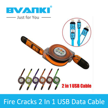 [Bvanki 2 IN 1 ] 50pcs/Lot China Products Fire Cracks Pattern 13.5cm/1M 2 in1 Retractable Charger Data Sync USB Cable For iPhone