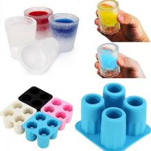 Creative 4 Cup Shaped Silicone Ice Cube Freeze Mold Tray Bar Kitchen Cool Shooters New Color Random(China)