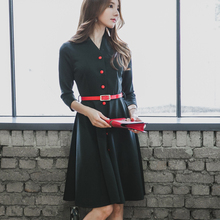 2016 Fashion Elegance Autumn Winter Long Sleeve OL Dress Empire POLO collar Sexy Party Women Cotton Solid Black Dress A-Line