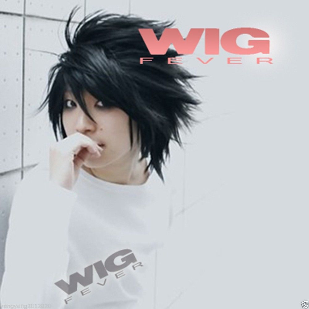 Hot Sale!! Death Note L Lawliet Wig Black Men Cosplay Short Stylish Anime Cosplay Hair Wig<br><br>Aliexpress