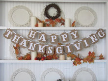 Hot sale! Vintage Happy ThanksGiving Banner Bunting Garlands Party Decoration
