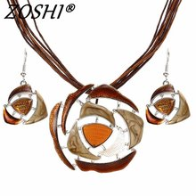 ZOSHI Fashion Crystal Jewelry Sets Leather Rope Chain Pendant Necklace Drop Earrings Wedding Bridal Jewelry Sets Women Boho Gift(China)