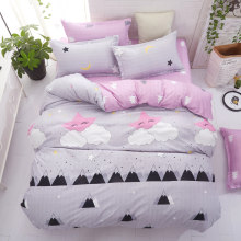 Grey bedding set 2018 summer bed linens 3or 4pcs/set duvet cover set Pastoral bed set kids / Adult bedding bedclothes queen kin(China)