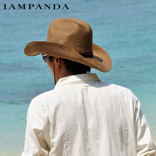 Chapeau Sombreros Cappelli Iampanda Brand 2017 Summer Hats For Men Big Brim Foldable Beach Sun Hat Cowboy Leisure Travel Straw(China)