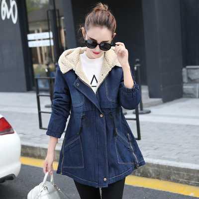 Autumn Denim Coat Women Jeans Jackets Warm Hooded Fleece Solid Outwear Overcoat Female Denim Jacket Jean Coats Women Parka A4856Одежда и ак�е��уары<br><br><br>Aliexpress