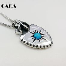CARA New 316L stainless steel eagle claw shield necklace Indian style Blue stone sun eagle pendant necklace jewelry CARA0434(China)