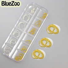 BlueZoo Hot Sale 2015 Shiny Long Metal Bead Chain Nail Art Decoration For Phone Nail DIY Tips Gold Silver Free Shipping