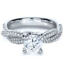1CT simulate Diamond 9k Solid Gold Jewelry White Gold Plated Engagement Diamond Wedding Ring For Women(China)