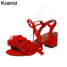 Kcenid 2017 big size 43 designer fringe shoes women red sandals mid heel cross-tied fashion dress party lady casual summer shoes