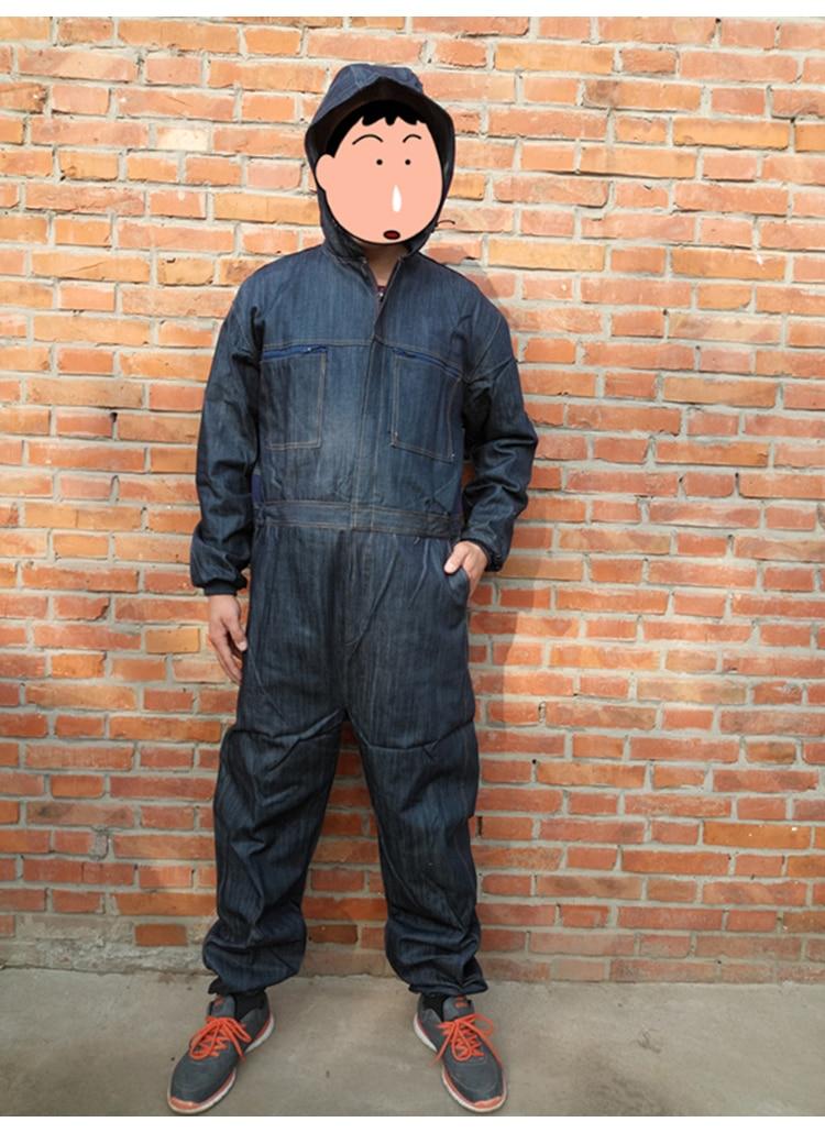 Men Work Clothing Long Sleeve Denim Coverall High Quality Wear resistance Overalls Repairman Machine Auto Repair Working uniform (1)