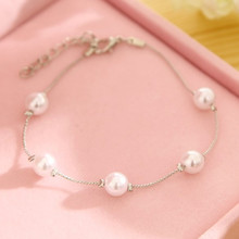 L240 New Fashion Chic Pulseras Minimalist Cute Simulated-pearl pulseiras Charm Link Chain Bracelets for Women Jewelry Girl Gift(China)