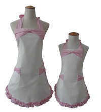 Kitchen Apron White Cotton Mother and Daughter Apron Bow-Tie Ruffled Avental de Cozinha Divertido Tablier Cuisine Pinafore