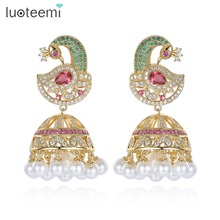 LUOTEEMI Unique Design Big Multi CZ Phoenix Drop Earrings with Imitation Pearls Statement Umbrella Brincos Women Bride Jewelry