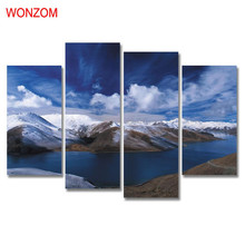 4Pcs Snow Mountain Canvas Painting Blue Sky Lake Painting On Canvas Cloud Cuadros Abstractos 2017 Wall Picture For Home Decor