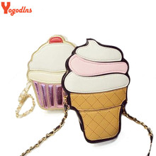 Yogodlns New Cute Cartoon Women Ice cream Cupcake Mini Bags PU Leather Small Chain Clutch Crossbody Girl Shoulder Messenger bag