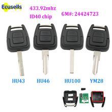 2 Button 433.92mhz Remote Key fob with Transponder chip ID40 For Opel Astra Zafira Vectra Omega HU46/HU43/YM28/HU100 24424723(China)