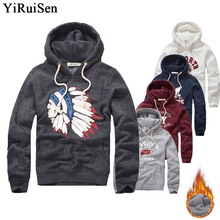 Wholesale YiRuiSen Brand Mens Fleece Hoodies With Hat Warm Winter Coat Applique Design Fashion Sweatshirts For Men Hollistic(China)