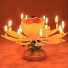 5 colors Candles Musical Lotus Flower Happy Birthday Party Wedding Romantic Candle Baby Lovers gifts hot sale Beautiful Blossom