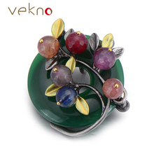 Vintage Metal Brooch Pins Jewelry Circle Style Multicolor Natural Stone Bouquet Brooches Pendant Women Scarf Accessories