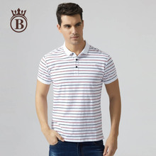 Summer Men's Fashion Short-Sleeved Lapel Simple Striped Sports Breathable Comfortable Polo Shirt(China)