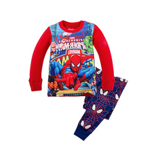 2017 Children Cotton Long Sleeve Cartoon Spiderman Pajamas Baby Girl Boys Superman Sleepwear kids t-shirts+pants clothes set