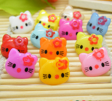 50pcs/lots Mix Candy color 14mm the Plastic Children's clothing Hello kitty Button/Sewing(China)