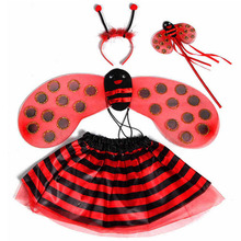 Children Girls Princess Bee Ladybug Wings Headband Magic Wand Skirt Cosplay Costume Accessories Party Fancy Dress(China)
