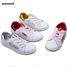 WEONEWORLD Kids shoes boys girls whit canvas NEW 2017 spring summer breathable children casual shoes board fashion sneakers