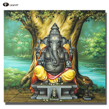 CHENFART Oil Painting Ganesha Buddha Wall Art a Perfect Painting for a new Home office or even as a Gift Canvas Painting(China)
