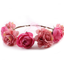 Hot Artificial Flowers Wedding Decoration Headbands Bride Hair Tiara Adult Boho Hair Ornaments Lady Circle Of Flowers Photograph