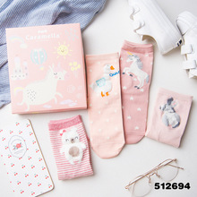 high quality 2017 women socks autumn winter gift box 4 pairs korean cute cotton animals women pink long funny socks lady novelty(China)