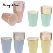 MagiDeal 8 Pcs/Lot 270 ml Solid Color Paper Cups Wedding Birthday Party Dinner Tableware Disposable Cups Party Supplies(China)