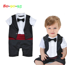 Baby boy tuxedo gentlemen bow tie  romper infant clothes infant toddler kids black Short Sleeve summer jumpsuit wedding clothes