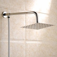 Free Shipping Polished Wall Mounted Square Rain Shower Head Stainless Steel Hose Wall Shower Arm Round Style