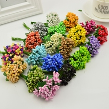cheap 12pcs/lot Artificial Stamens flowers for handicrafts home accessories scrapbooking DIY wreath Candy Gift box decoration(China)